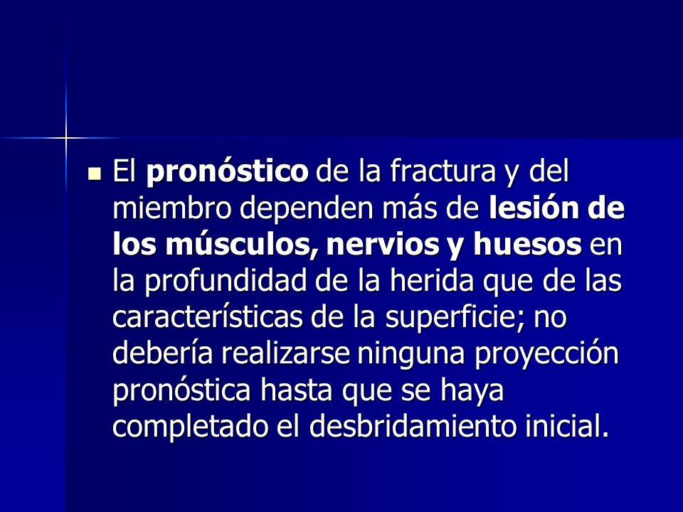El pronóstico de la fractura y del miembro dependen más de lesión de los músculos, nervios y huesos en la profundidad de la herida que de las características de la superficie; no debería realizarse ninguna proyección pronóstica hasta que se haya completado el desbridamiento inicial.