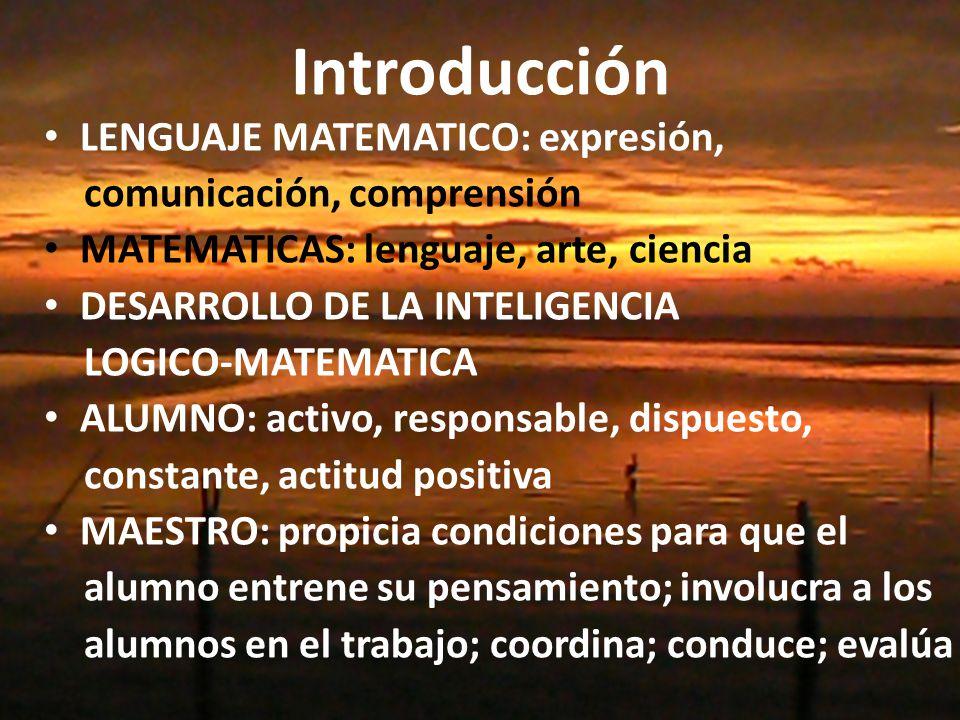 Introducción LENGUAJE MATEMATICO: expresión, comunicación, comprensión