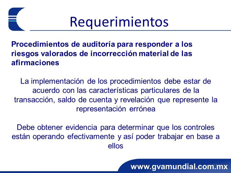 Requerimientos Procedimientos de auditoría para responder a los riesgos valorados de incorrección material de las afirmaciones.