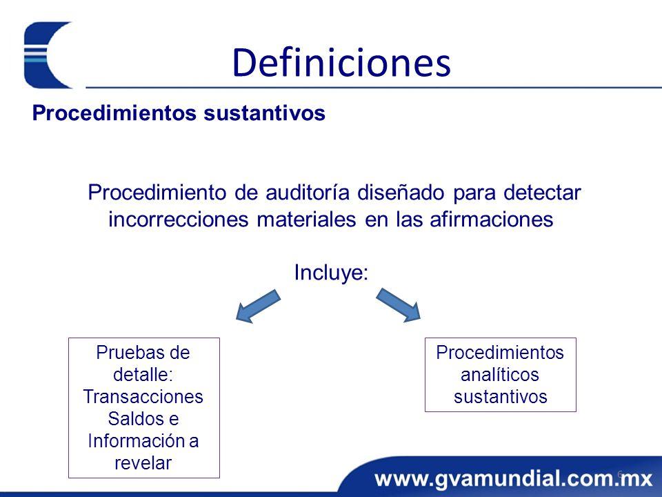 Procedimientos analíticos sustantivos
