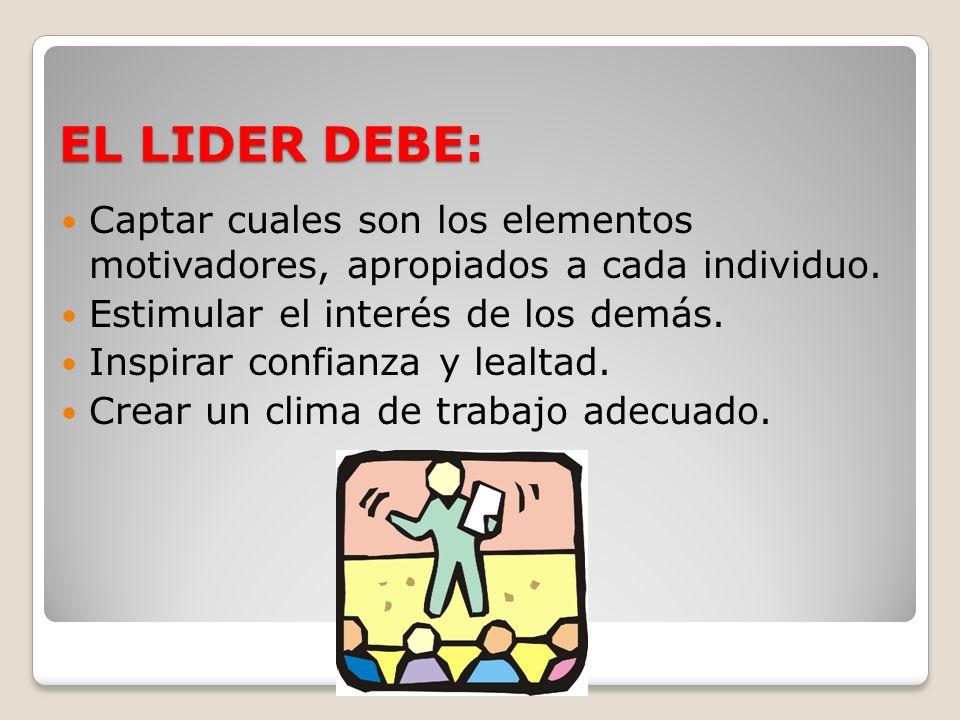 EL LIDER DEBE:Captar cuales son los elementos motivadores, apropiados a cada individuo. Estimular el interés de los demás.
