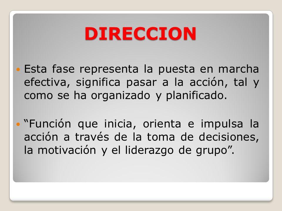 DIRECCIONEsta fase representa la puesta en marcha efectiva, significa pasar a la acción, tal y como se ha organizado y planificado.