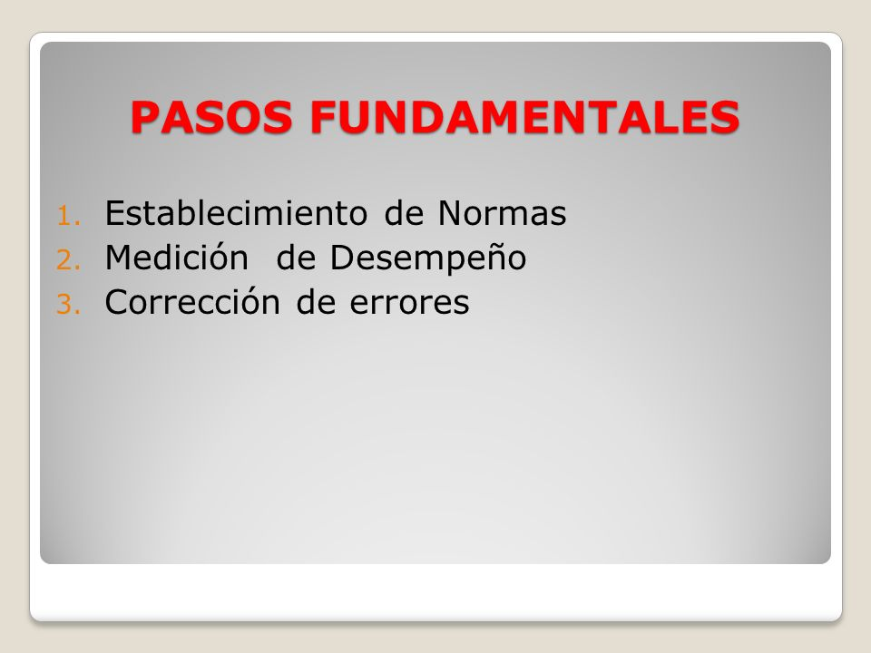 PASOS FUNDAMENTALES Establecimiento de Normas Medición de Desempeño