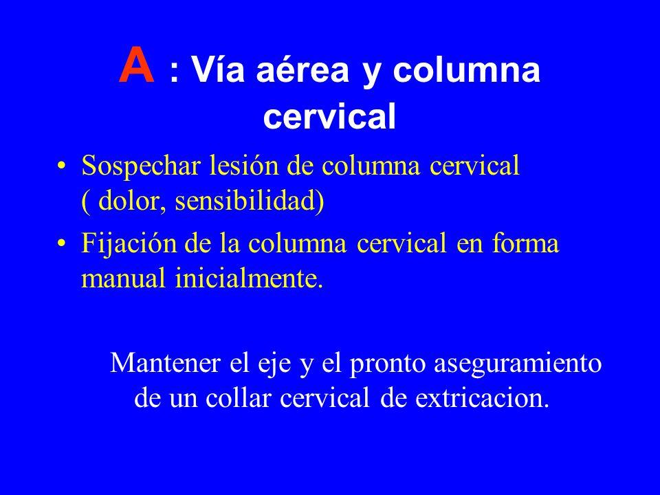A : Vía aérea y columna cervical