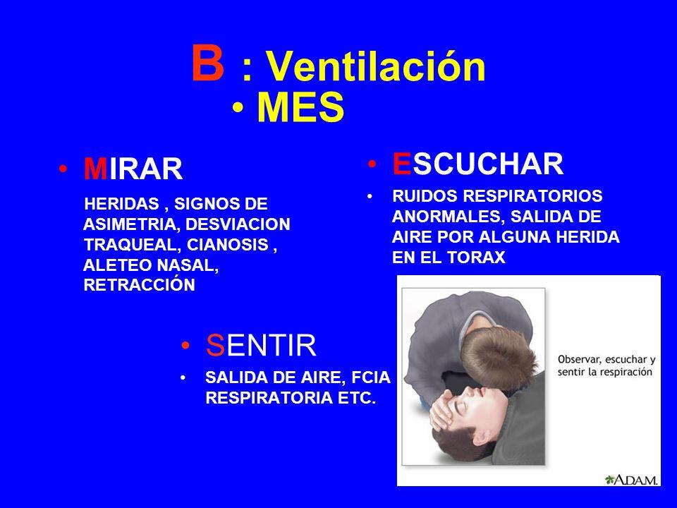 B : Ventilación MES ESCUCHAR MIRAR SENTIR