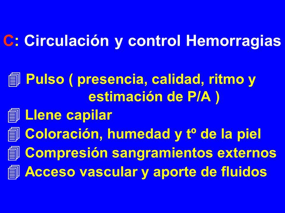 C: Circulación y control Hemorragias  Pulso ( presencia, calidad, ritmo y estimación de P/A )  Llene capilar  Coloración, humedad y tº de la piel  Compresión sangramientos externos  Acceso vascular y aporte de fluidos