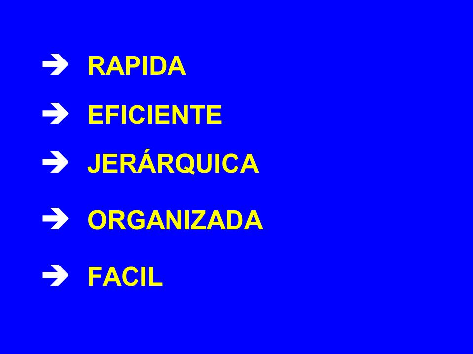  RAPIDA  EFICIENTE  JERÁRQUICA  ORGANIZADA  FACIL
