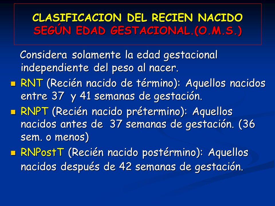 CLASIFICACION DEL RECIEN NACIDO SEGÚN EDAD GESTACIONAL.(O.M.S.)