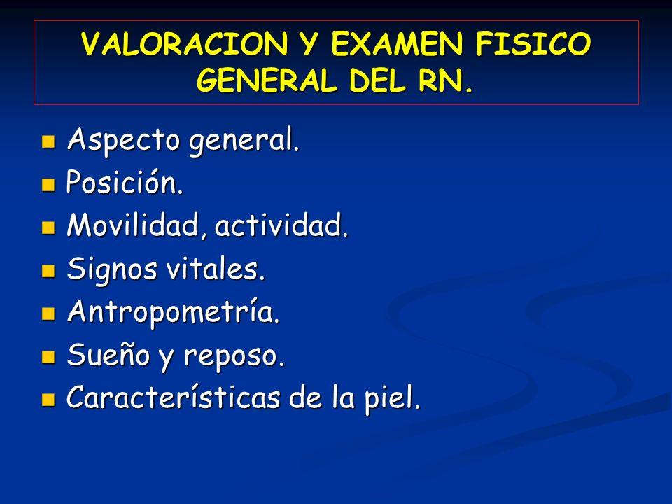 VALORACION Y EXAMEN FISICO GENERAL DEL RN.