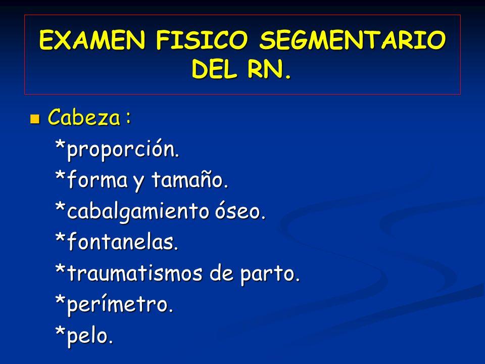 EXAMEN FISICO SEGMENTARIO DEL RN.