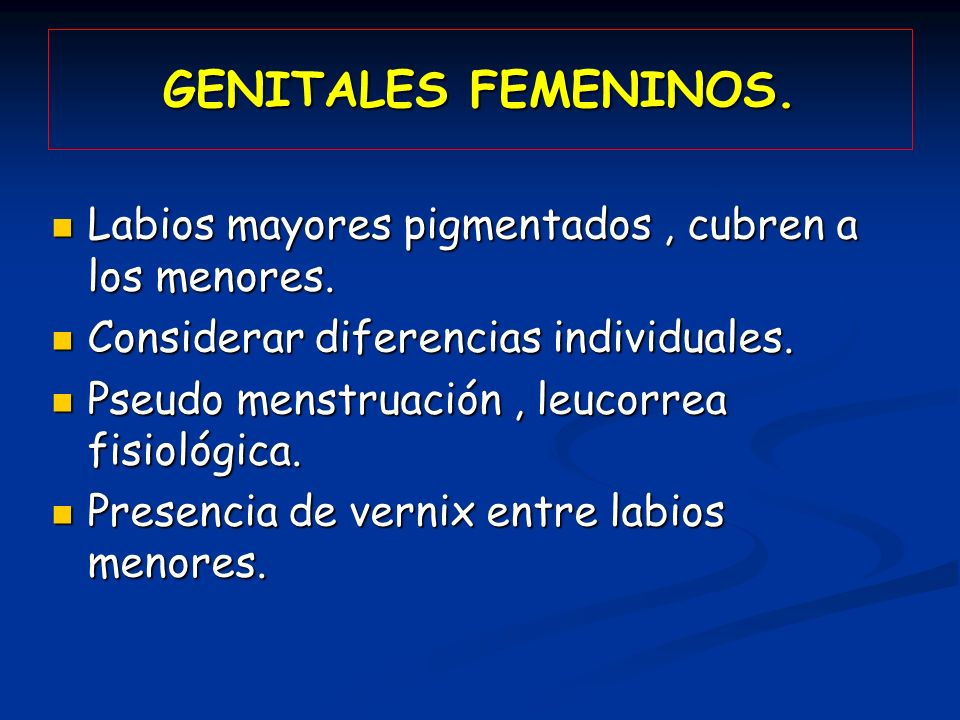 GENITALES FEMENINOS. Labios mayores pigmentados , cubren a los menores. Considerar diferencias individuales.