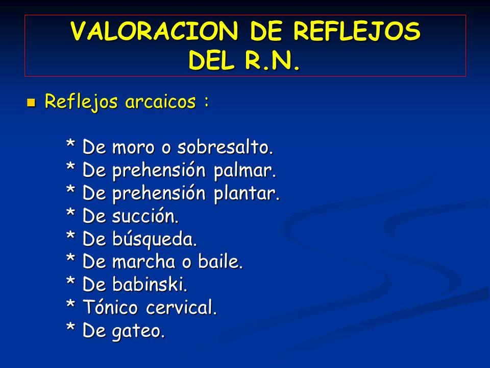 VALORACION DE REFLEJOS DEL R.N.