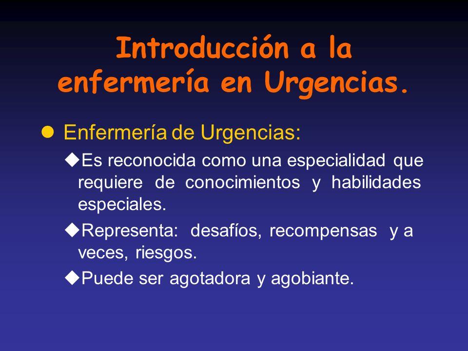 Introducción a la enfermería en Urgencias.