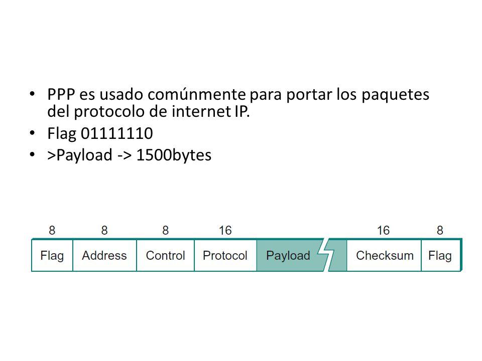 PPP es usado comúnmente para portar los paquetes del protocolo de internet IP.