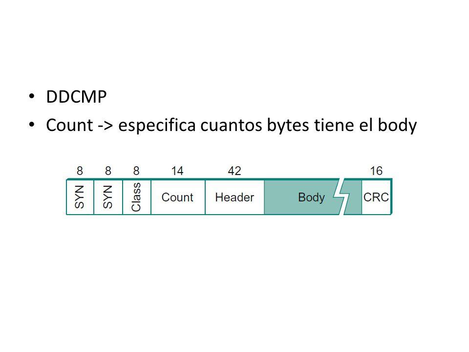 DDCMP Count -> especifica cuantos bytes tiene el body
