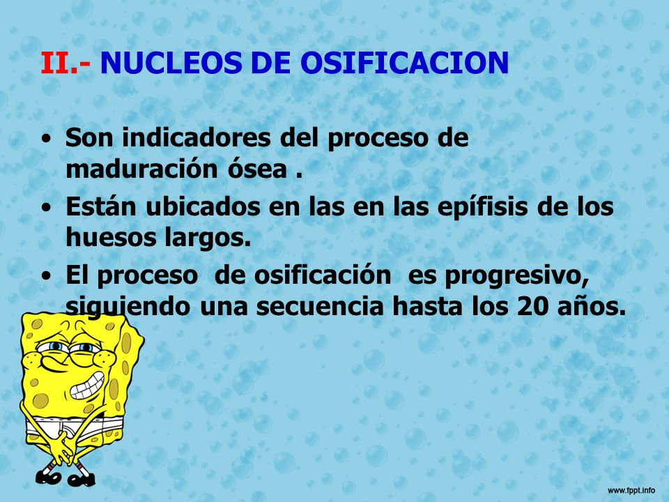 II.- NUCLEOS DE OSIFICACION
