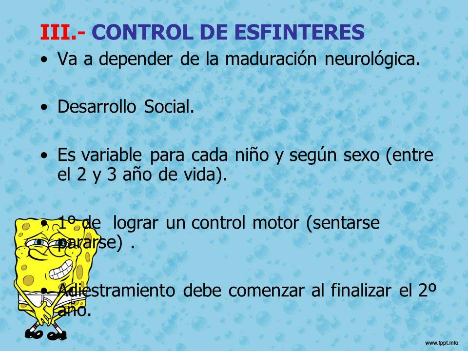 III.- CONTROL DE ESFINTERES
