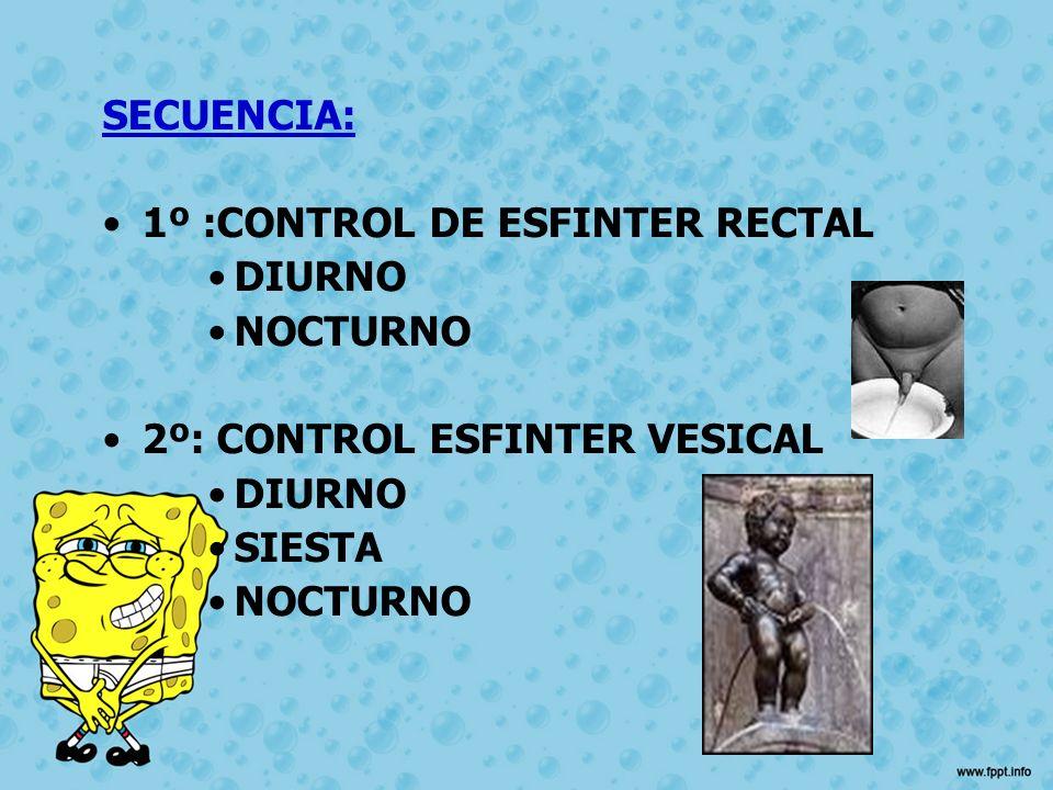 SECUENCIA: 1º :CONTROL DE ESFINTER RECTAL DIURNO NOCTURNO 2º: CONTROL ESFINTER VESICAL SIESTA