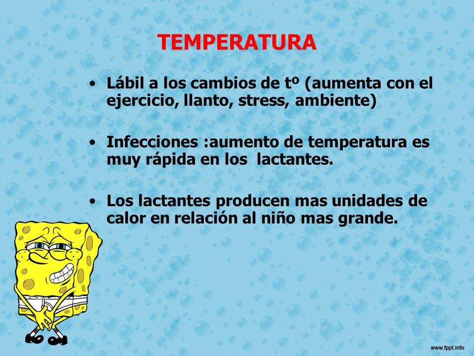 TEMPERATURA Lábil a los cambios de tº (aumenta con el ejercicio, llanto, stress, ambiente)