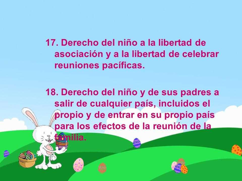 17. Derecho del niño a la libertad de asociación y a la libertad de celebrar reuniones pacíficas.