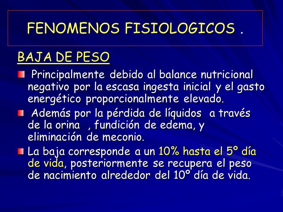 FENOMENOS FISIOLOGICOS .