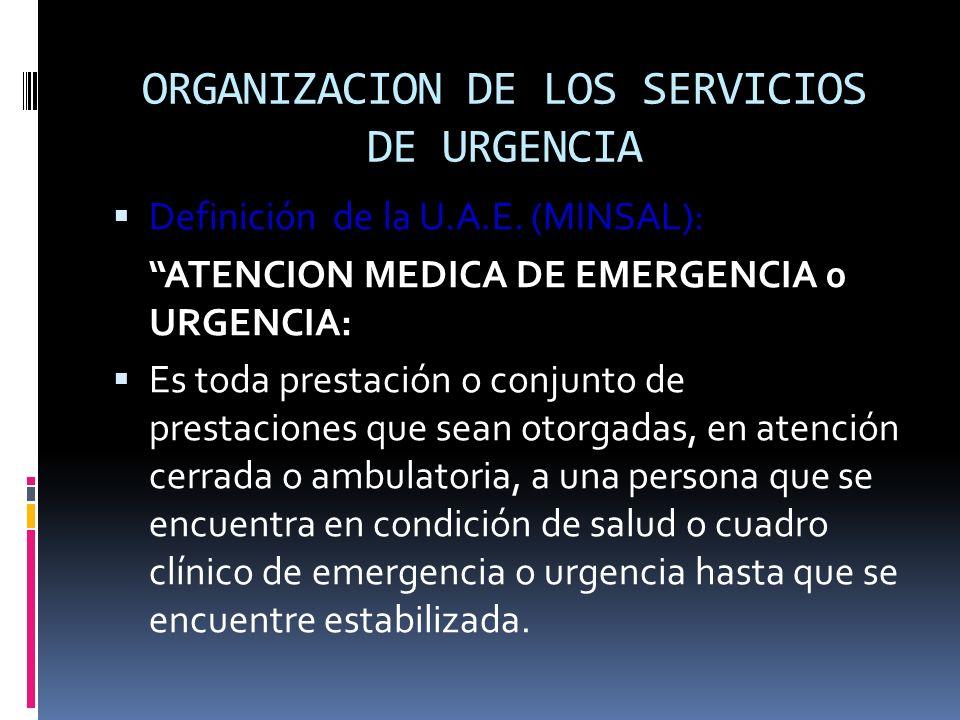 ORGANIZACION DE LOS SERVICIOS DE URGENCIA