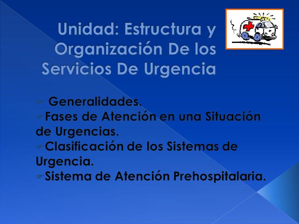 Unidad: Estructura y Organización De los Servicios De Urgencia