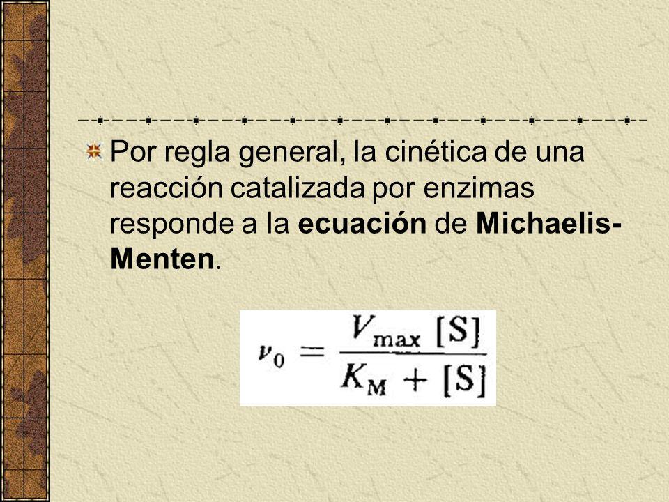 Por regla general, la cinética de una reacción catalizada por enzimas responde a la ecuación de Michaelis-Menten.