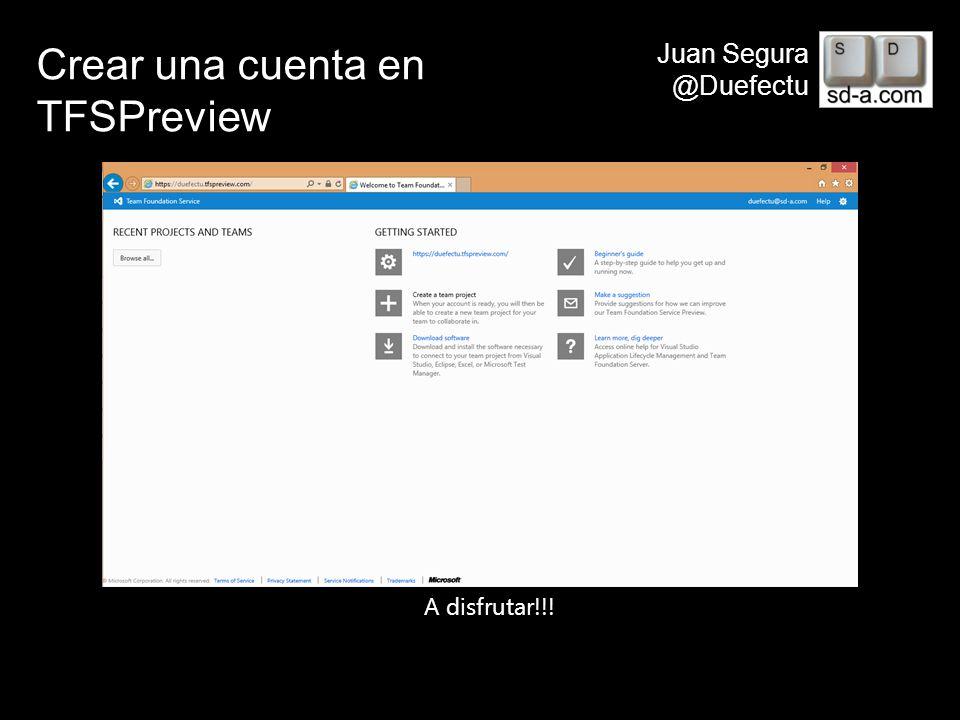 Crear una cuenta en TFSPreview