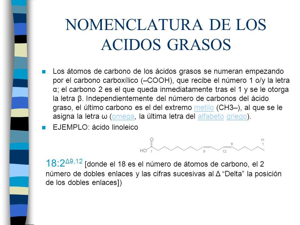 NOMENCLATURA DE LOS ACIDOS GRASOS