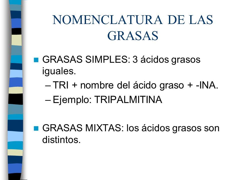 NOMENCLATURA DE LAS GRASAS