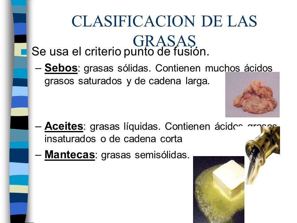 CLASIFICACION DE LAS GRASAS