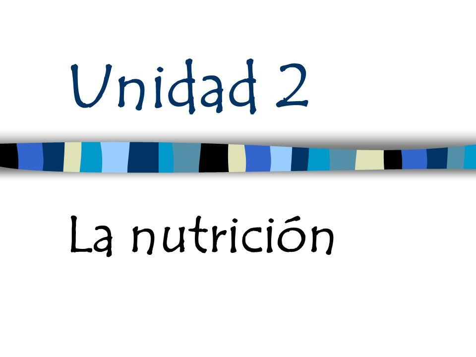 Unidad 2 La nutrición