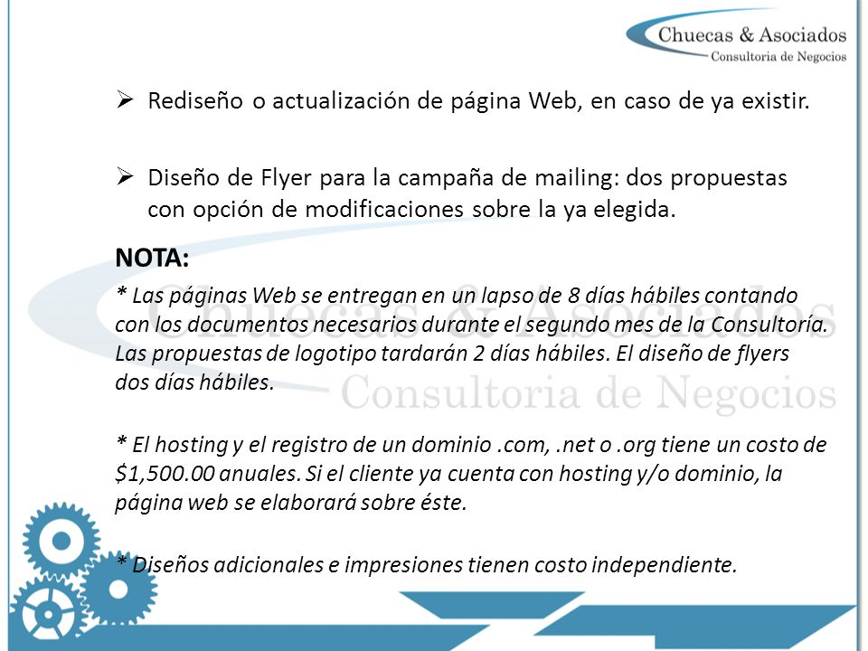 NOTA: Rediseño o actualización de página Web, en caso de ya existir.