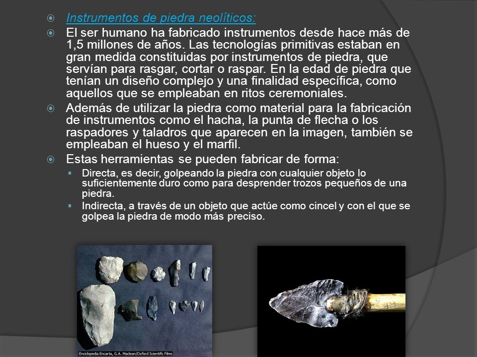 Instrumentos de piedra neolíticos: