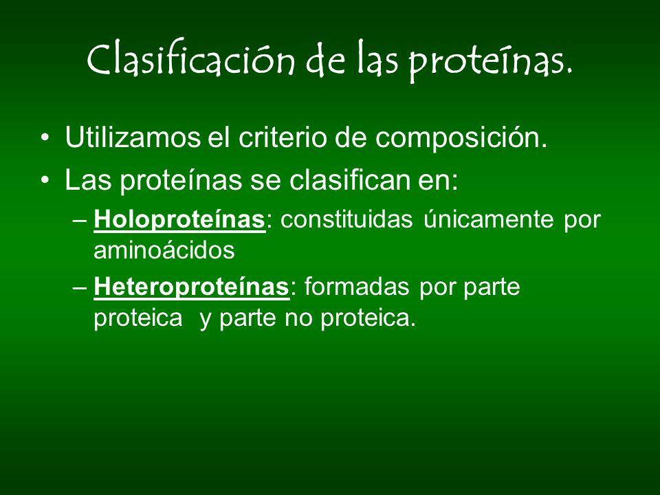 Clasificación de las proteínas.