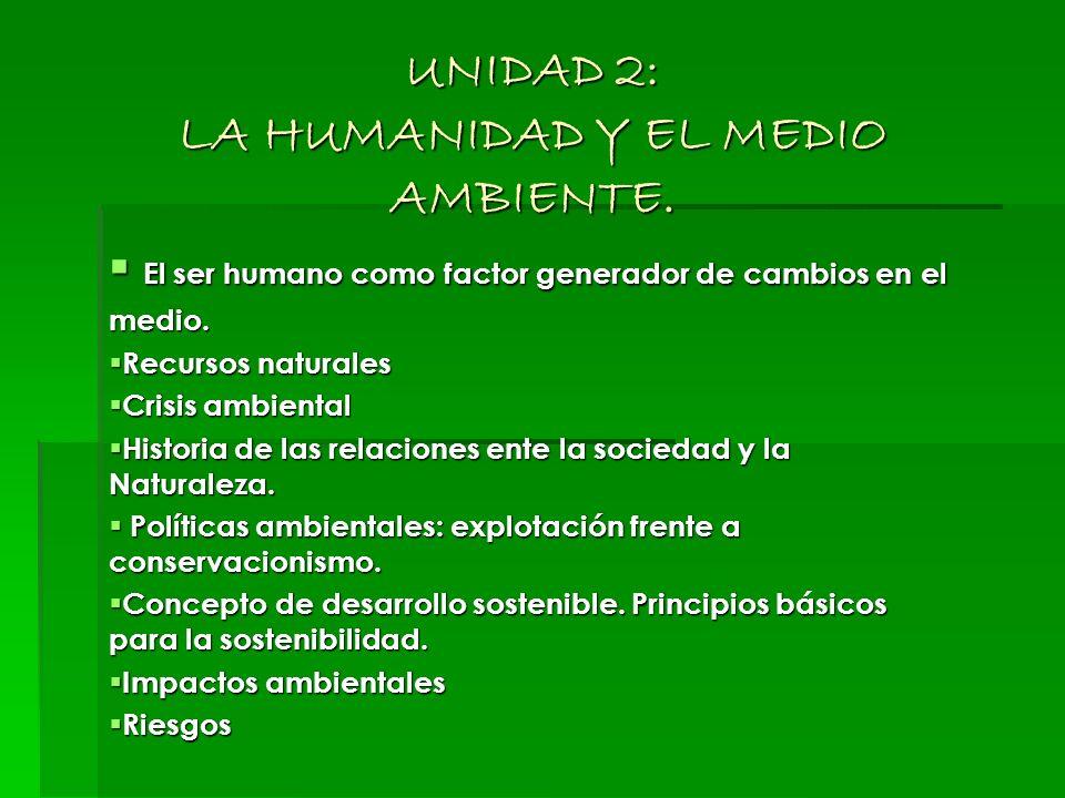 UNIDAD 2: LA HUMANIDAD Y EL MEDIO AMBIENTE.