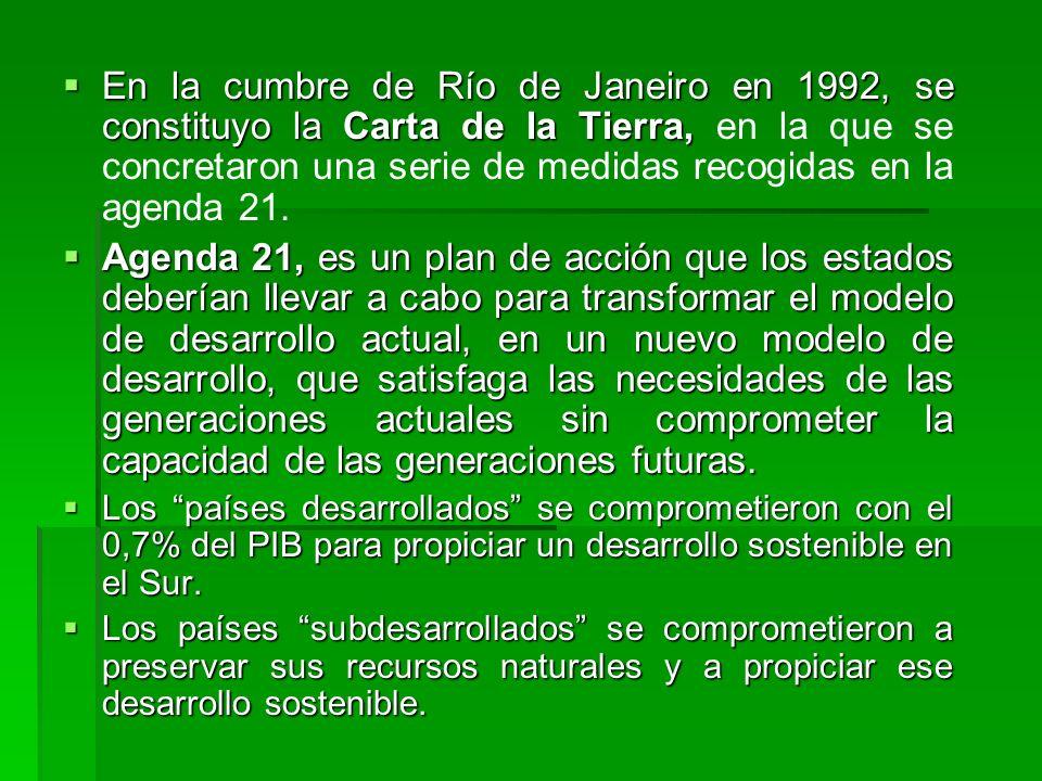 En la cumbre de Río de Janeiro en 1992, se constituyo la Carta de la Tierra, en la que se concretaron una serie de medidas recogidas en la agenda 21.