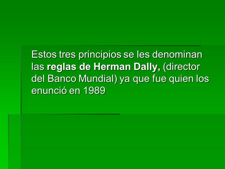 Estos tres principios se les denominan las reglas de Herman Dally, (director del Banco Mundial) ya que fue quien los enunció en 1989