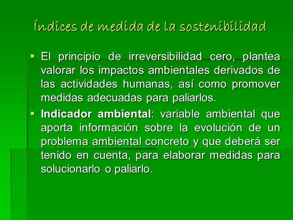Índices de medida de la sostenibilidad