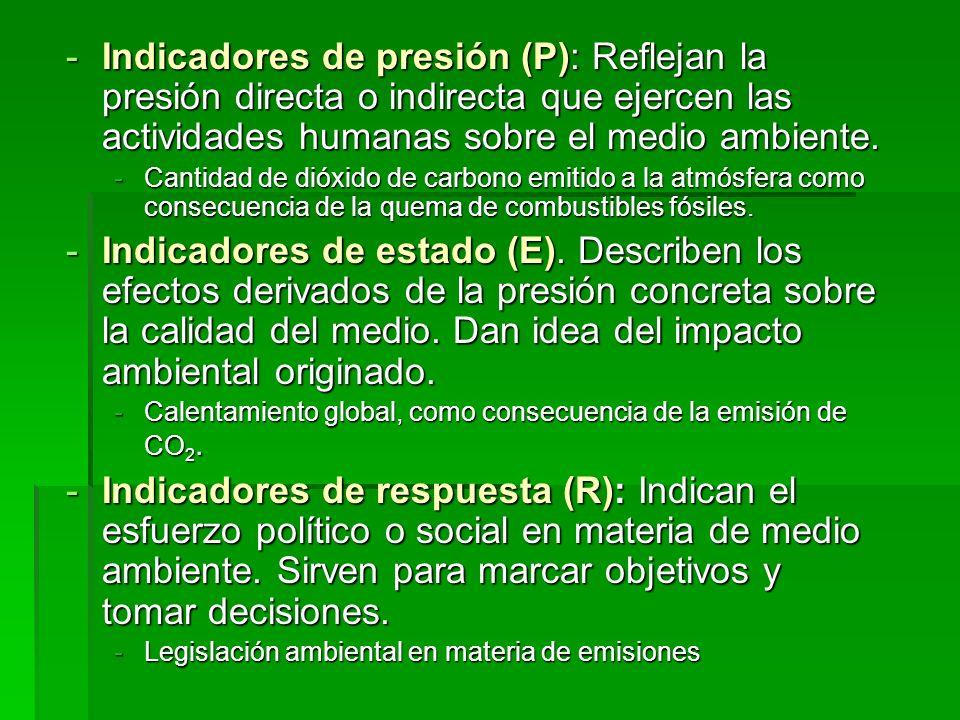 Indicadores de presión (P): Reflejan la presión directa o indirecta que ejercen las actividades humanas sobre el medio ambiente.