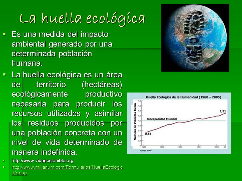 La huella ecológica Es una medida del impacto ambiental generado por una determinada población humana.