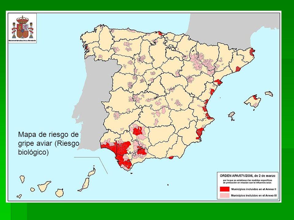 Mapa de riesgo de gripe aviar (Riesgo biológico)