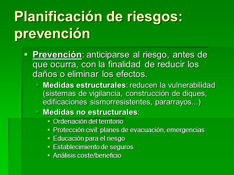 Planificación de riesgos: prevención