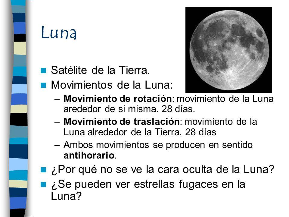 Luna Satélite de la Tierra. Movimientos de la Luna: