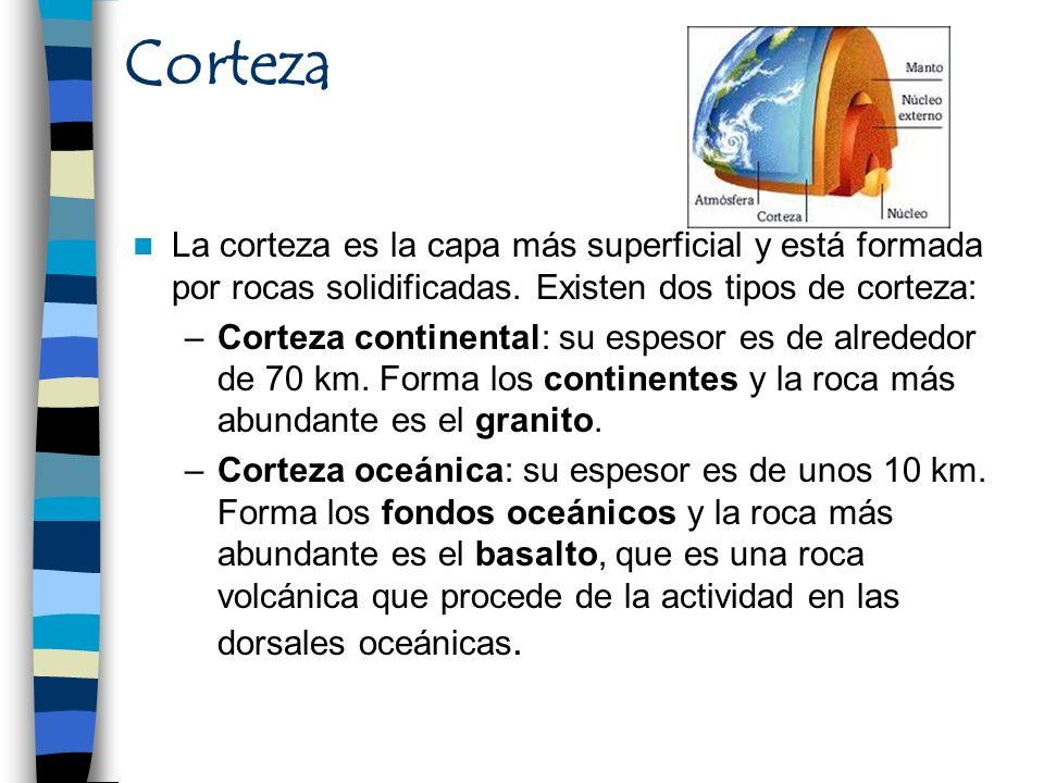 Corteza La corteza es la capa más superficial y está formada por rocas solidificadas. Existen dos tipos de corteza: