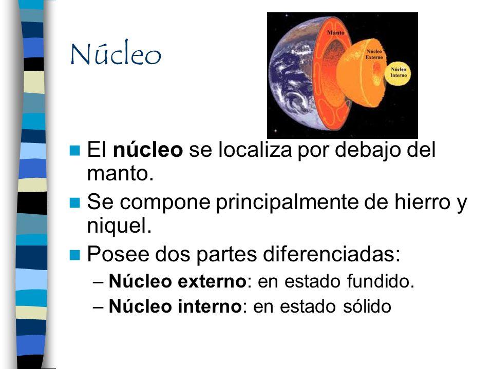 Núcleo El núcleo se localiza por debajo del manto.
