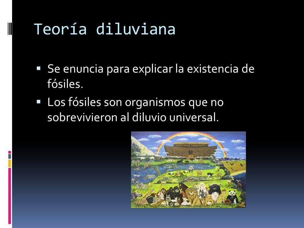 Teoría diluviana Se enuncia para explicar la existencia de fósiles.