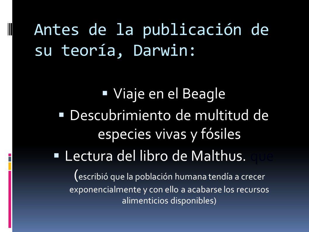Antes de la publicación de su teoría, Darwin: