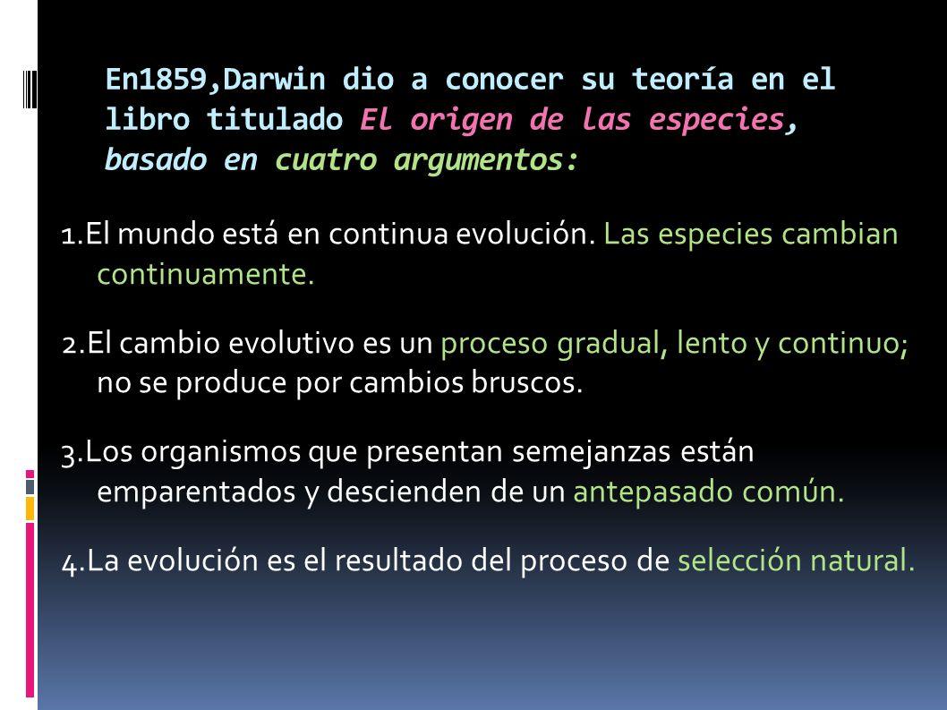 En1859,Darwin dio a conocer su teoría en el libro titulado El origen de las especies, basado en cuatro argumentos:
